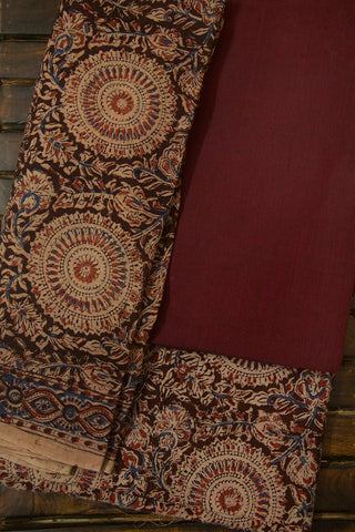 Dark Maroon Mangalagiri Cotton Fabric with Printed Kalamkari Bottom and Dupatta