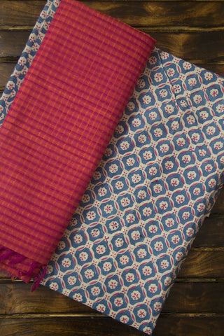 Checks Sanganeri Fabric with Missing Weaves Dupatta