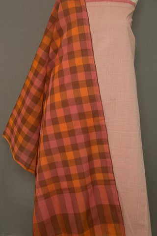 Pink Pin Stripes Handwoven Fabric with checkered Dupatta