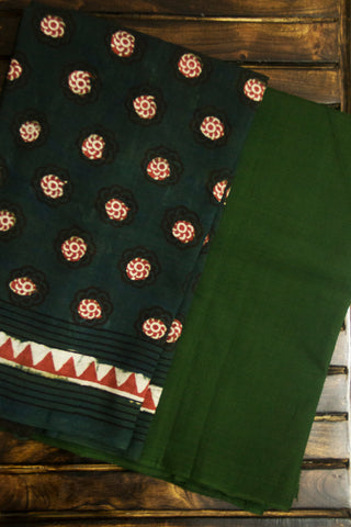 Subdued Green Handwoven Fabric with Handspun Handwoven Cotton Dupatta