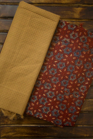 Ajrak Silk Cotton Fabric with Missing Checks Dupatta
