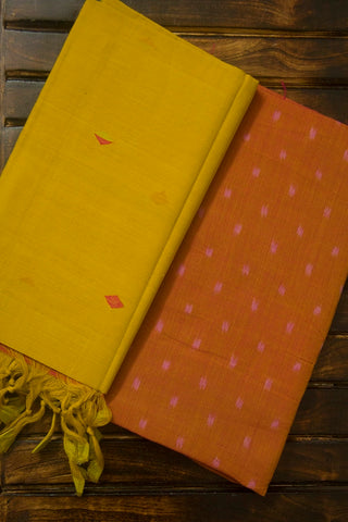 Peach Handwoven Ikat Fabric with Handwoven Diamond Butta Dupatta