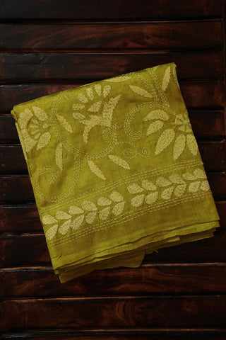 Yellow Kantha Full Work Tussar Silk Blouse
