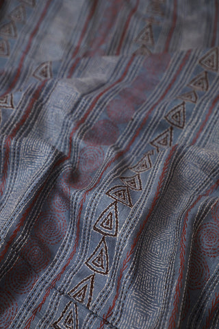 Blueish Grey Kantha Embroidered Tussar Silk Blouse