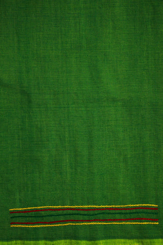 Green Mangalagiri Hand Embroidered Blouse Fabric