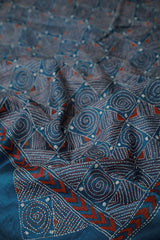 Circles and Squares Kantha Embroidered Tussar Silk Blouse