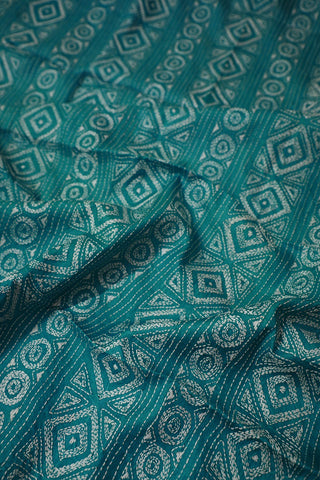 Light Blue with Off White Kantha Full Worked Tussar Silk Blouse