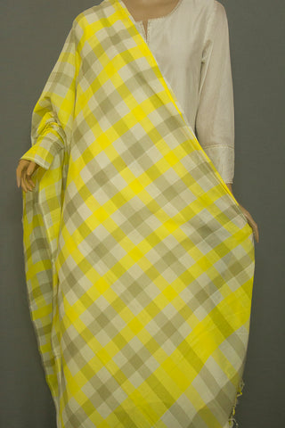 Yellow with Grey Checks Handwoven Cotton Dupatta