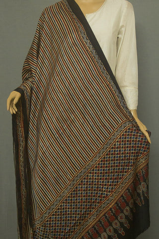 Indigo with Black and Beige Lines Block Printed Ajrak Modal Silk Dupatta