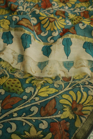 Yellow Strawberry in Blue Chanderi Painted Kalamkari Dupatta