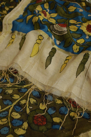 Olive Green with Yellow Floral Chanderi Painted Kalamkari Dupatta