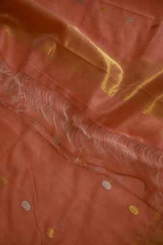 Peach with Lotus Motif Silk Cotton Chanderi Dupatta