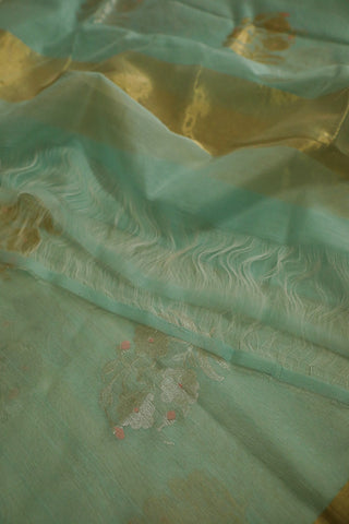 Light Blue with Big Floral Motif Silk Cotton Chanderi Dupatta