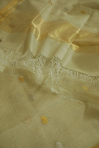 Lotus Flower in Sandal Silk Cotton Chanderi Dupatta