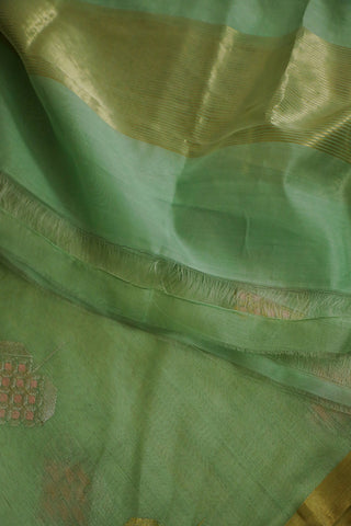 Pastel Green Silk Cotton Chanderi Dupatta