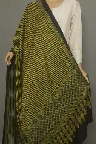 Green with Black and Yellow Lines Block Printed Ajrak Modal Silk Dupatta