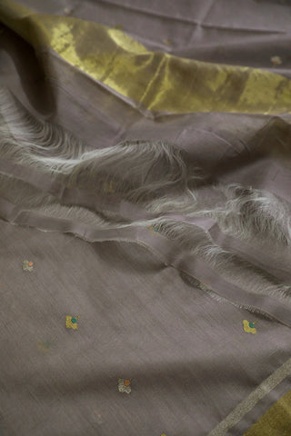 Double Shade Greyish Lavender Silk Cotton Chanderi Dupatta