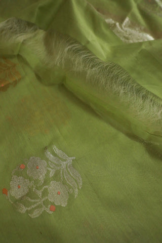Light Green with Big Floral Motif Silk Cotton Chanderi Dupatta