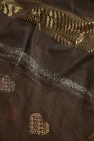 Brownish Grey Silk Cotton Chanderi Dupatta