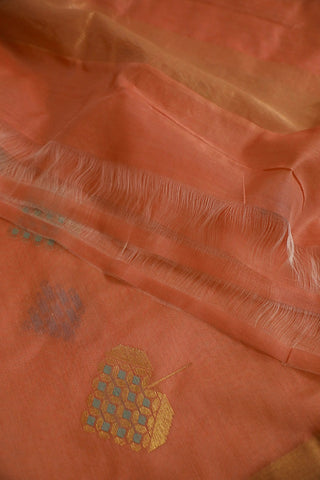 Orangish Peach Silk Cotton Chanderi Dupatta