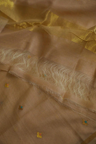 Subtle Brown Silk Cotton Chanderi Dupatta