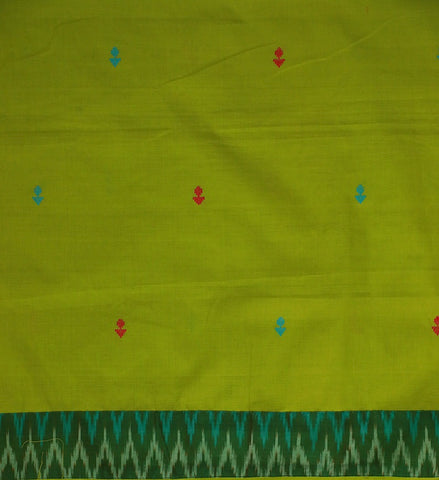 Neon Green Handwoven Butta Fabric with Ikat Yoke Kurta Fabric