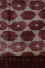 Maroonish Purple Shibori Tussar Silk Fabric with Tussar Silk Yoke