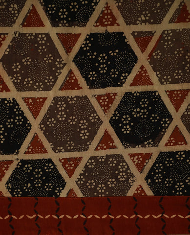 Ajrak Block Printed Fabric with Ajrak Yoke
