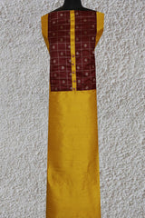 Golden Yellow Raw Silk Fabric with Banarasi Silk Yoke