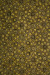 Yellowish Green with Grey Ajrak Cotton Fabric