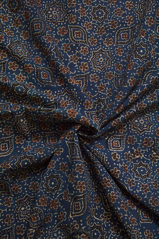 Blue with Brown Small Flowers Ajrak Cotton Fabric