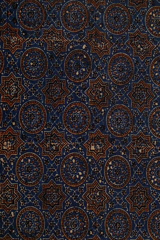 Ink Blue with Brown Circles and Stars Ajrak Cotton Fabric