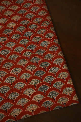 Block Printed Ajrak Cotton Fabric-0.6 m