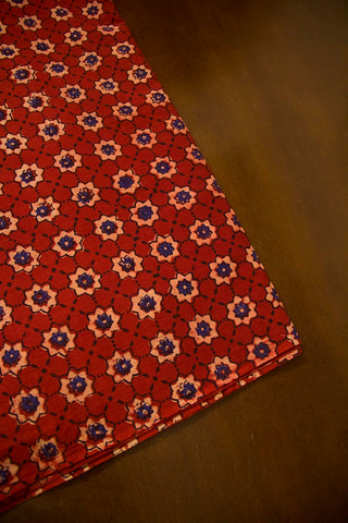 Maroon Stars Ajrak Cotton Fabric-2.4 m