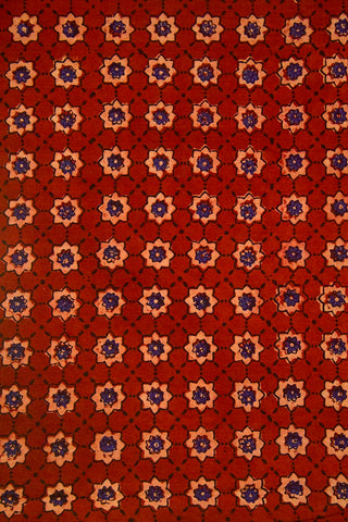 Maroon Stars Ajrak Cotton Fabric