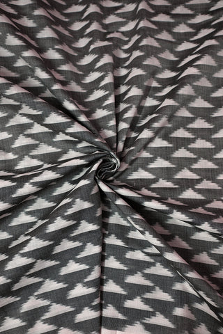 Off White Triangles in Grey Mercerized Ikat Cotton Fabric