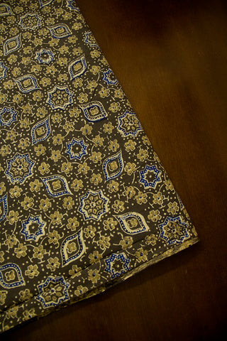 Elephant Grey with Blue Ajrak Cotton Fabric