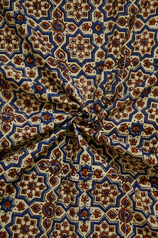 Off White with Indigo Big Stars Ajrak Cotton Fabric