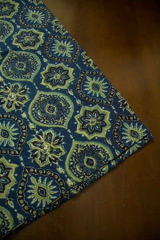 Indigo Blue with Yellowish Green Ajrak Cotton Fabric