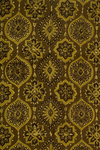 Olive Green Ajrak Cotton Fabric