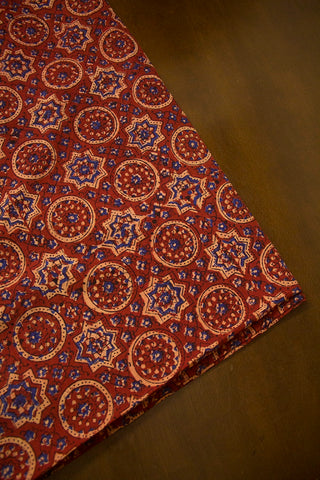 Maroon with Beige Circles Ajrak Cotton Fabric