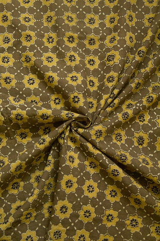 Yellowish Green Stars Ajrak Cotton Fabric