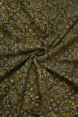 Olive Green Circles Ajrak Cotton Fabric-0.9m