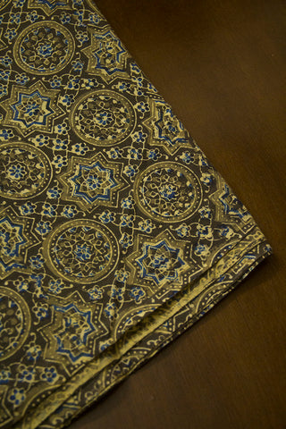 Olive Green Circles Ajrak Cotton Fabric
