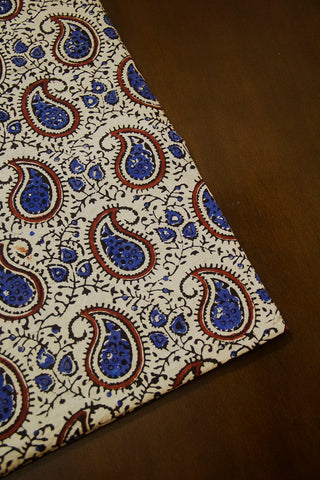 Off White with Blue Paisley Ajrak Cotton Fabric