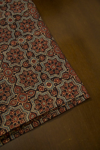 Black with Faded Brown Ajrak Cotton Fabric