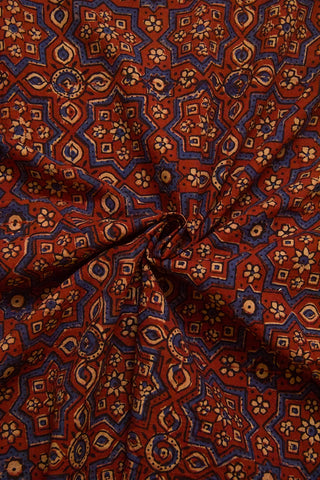 Brick Red with Indigo Big Stars Ajrak Cotton Fabric