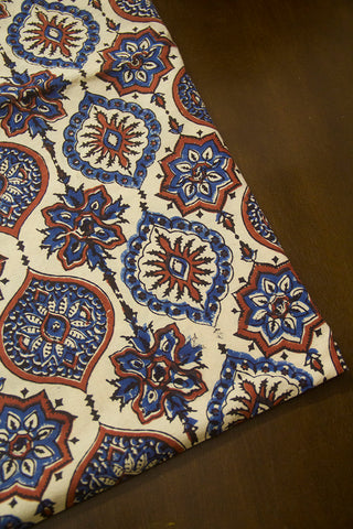 Off White with Indigo Intricate Design Ajrak Cotton Fabric