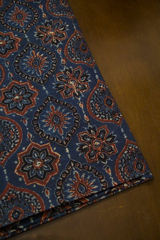 Ink Blue with Brown Ajrak Cotton Fabric