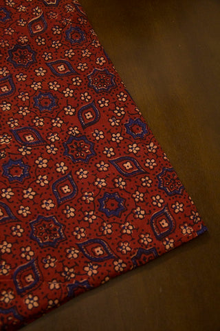Maroon with Beige Small Flowers Ajrak Cotton Fabric